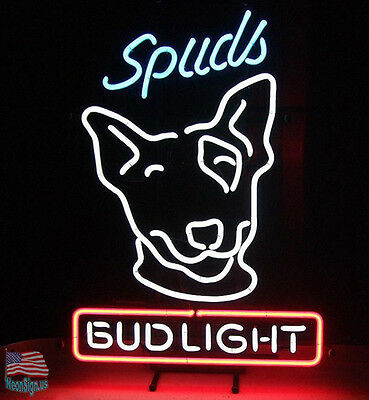 "Bud Light Spuds Mackenzie Beer Pub Bar Neon Sign 17""x14"" From USA"