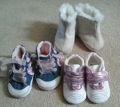 3 pairs of baby girls shoes size up to 6months