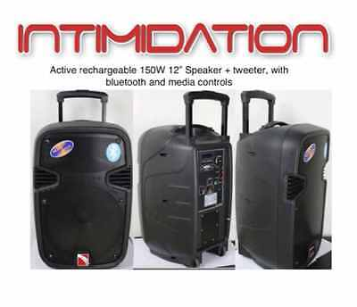 """Intimidation Portable 12"""" Active PA Speaker System Bluetooth Wireless battery"""
