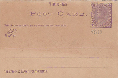 2031, Ganzsache British Empire, Victorian Post Card, One Penny, mit Antwortkarte