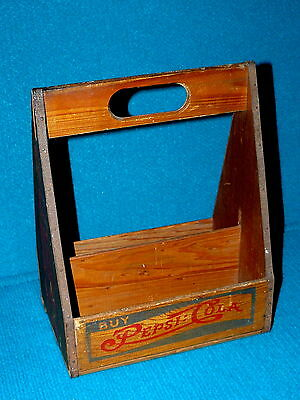 "Antique!  PEPSI-COLA ""Double Dot"" 6-PACK wooden CARRY CRATE @ Vintage SODA"