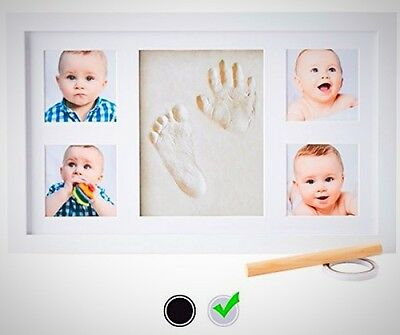 Baby Hand Print Kit Picture Frame Non Toxic CLAY Infant Newborn Memory Gift