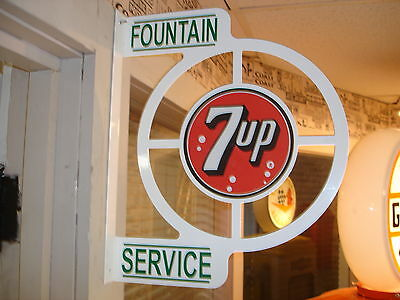 7-Up  Nostalgic  40S  50S Wall Flange Advertising Sign  2 Sided