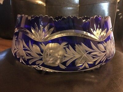 Czech Cobalt Blue Cut To Clear Crystal Bowl Early 1900's Bohemian-Rose Pattern