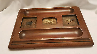 Antique Old Wooden Table Ink Pot Stand