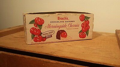 Vintage Brach's  Chocolate Covered Morningside Cherries Empty Candy Box Decor