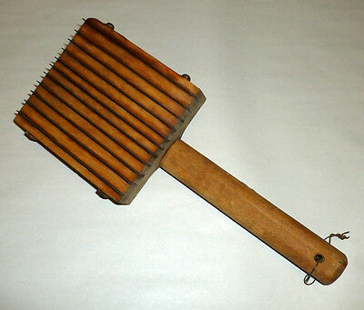 "Huge 12"" Primitive Farm Antique Wood Metal Meat Tenderizer w Handle - Excellent!"