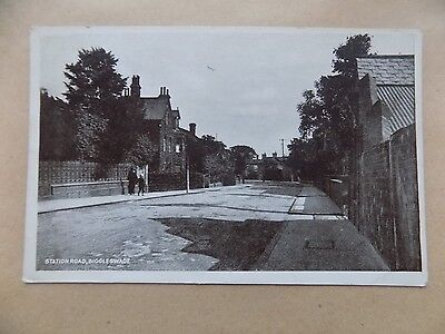 Vintage Old Postcard Posted 1927 Biggleswade Bedfordshire Station Road