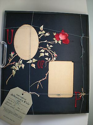 Antique University of Pennsylvania Silk Hand Embroidered Picture Frame U of P