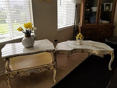 Vintage French Provincial Two Tier Side Table And  Coffee Tan & Grey Marble Top