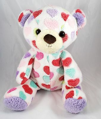 "Hearts All Over Teddy Bear by Animal Adventure plush stuffed animal 12"" sitting"