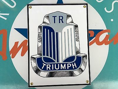 top quality TRIUMPH TR motor cars BLUE porcelain coated 18 GAUGE steel SIGN