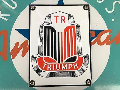 top quality TRIUMPH TR motor cars RED porcelain coated 18 GAUGE steel SIGN