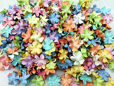 50 Mixed Pastel Flowers Mulberry Paper for Craft & D.I.Y