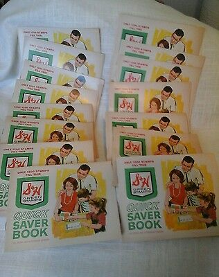 Lot 15 S&H Green Stamps EMPTY 1200 Stamp Book 1960s ~ VINTAGE NEW