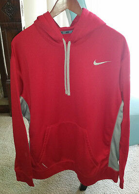 Nike Men's Therma Fit Long Sleeve Workout Hoodie Red Gray Size 2XL