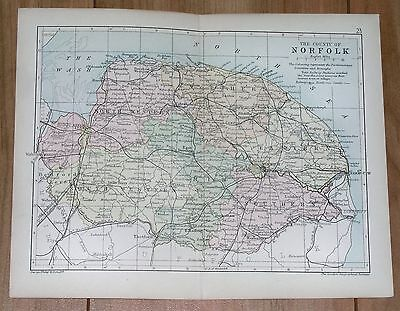 1898 Map Of County Of Norfolk / Norwich Yarmouth King's Lynn / England