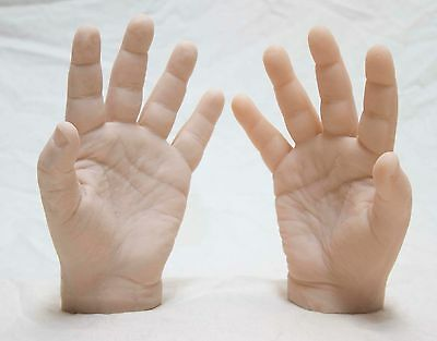 Pair Male Silicone Mannequin Hands - Display Model Art Prop - Large