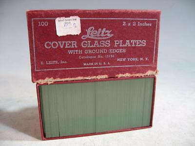 """Vintage Leitz 100 Cover Glass Plates 2"""" X 2"""" With Ground Edges In Box"""