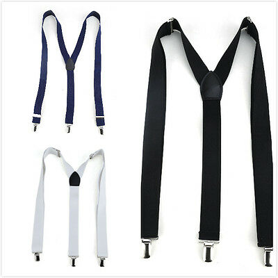 TopTie Men's Solid Fahion Elastic Suspenders 1 inch Y-Back Adjustable Suspenders