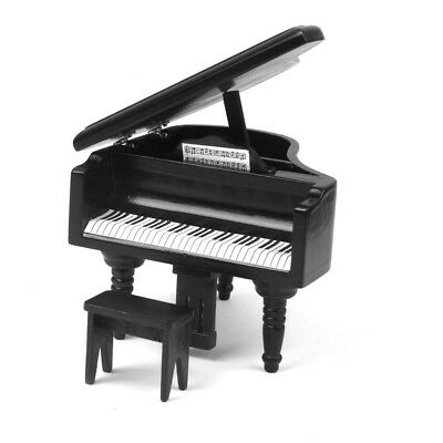 Black Birch Wood Grand Piano Fits 1/12 Dollhouse Miniature with Bench