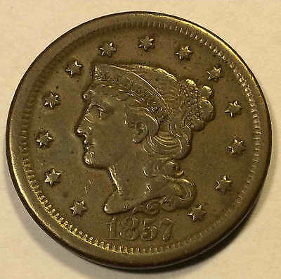 1857 Large Cent Large Date XF Key Date Sharp FREE SHIPPING