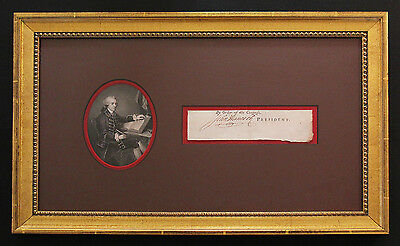 1775-77 John Hancock Autographed framed cut. Early and high quality. PSA/DNA