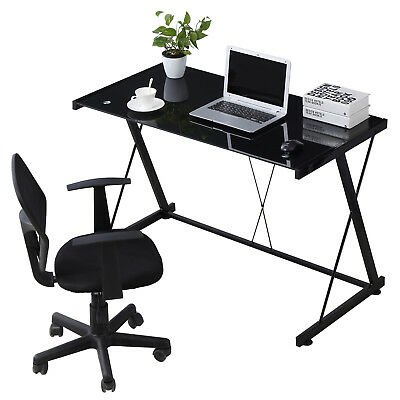 PC Laptop Glass Table Black Computer Desk Workstation Office Home Furniture