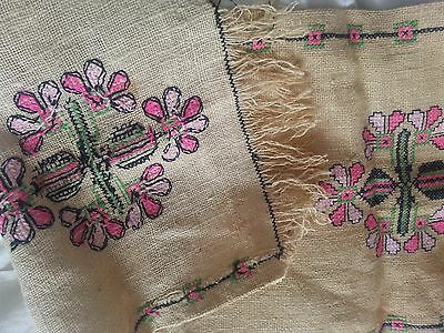 Vintage retro embroidered table runner