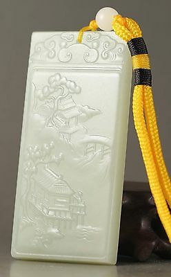 Chinese  natural hetian jade hand-carved flower pendant 3 inch