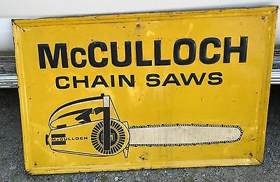 Vintage McCulloch Chainsaw Metal Embossed Advertising Store Sign Farm Logging