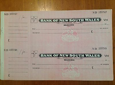 Bank Of New South Wales Bank Cheques, With 1953 2d Victorian Stamp Duty Imprint.
