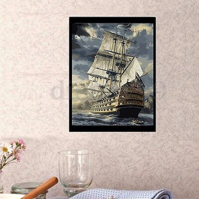 AU Wood Framed DIY Paint By Canvas Number Kit Painting Sailing Ship Home Decor