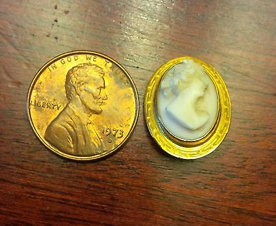 """Miniature Cameo Brooch Shell High Relief, facing right 1 1/2"""" Long x 5/8"""" wide"""
