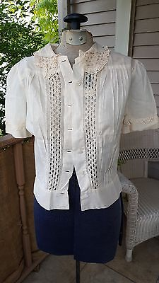 Vintage 1940s 1950s White Cotton Peter Pan Collar Blouse Top TLC 40s 50s