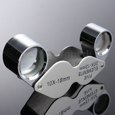 Jewellers Loupe Magnifier 20x 10x Magnifying Glass Eye Triplet Dual Lens UK NEW