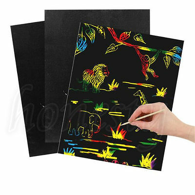 10 Sheet Scratch Art Painting Paper With Drawing Stick Kids Educational Toy Gift
