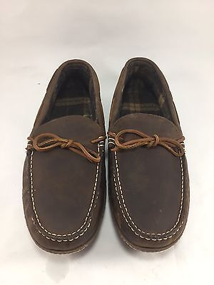 L.l. Bean Men's Size 12 Brown Leather Moccasin Slippers, Nwot