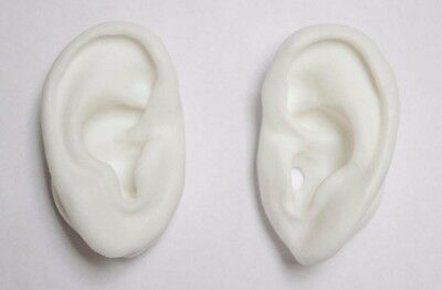 Skinlike Silicone White Ear Models - 3D sound - Prop - Acupuncture