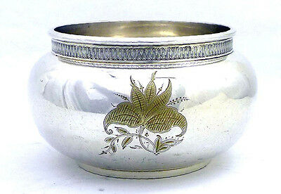 Antique Gorham Silver Soldered Sugar Bowl 0485 W/ Detailed Flower Engraving 1881