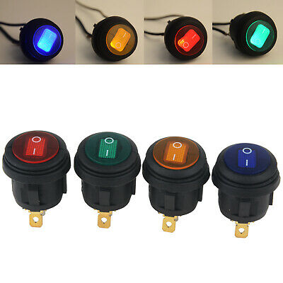 4x 12V 12A LED Car Auto Boat On/Off 3-Pin SPST Round Rocker Switch Waterproof