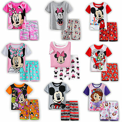 Summer Kids Boy Girl Mickey Minnie Outfits Clothes Short Sleeve T-shirt Pant Set