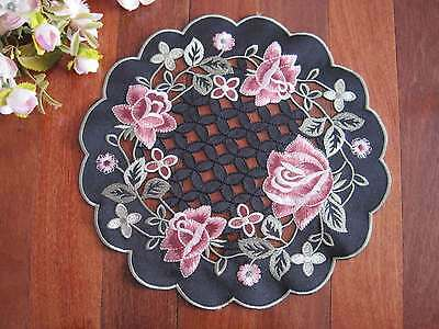 Gorgeous Victorian Style Pink Rose Flower Embroidery Cutwork Black Doily