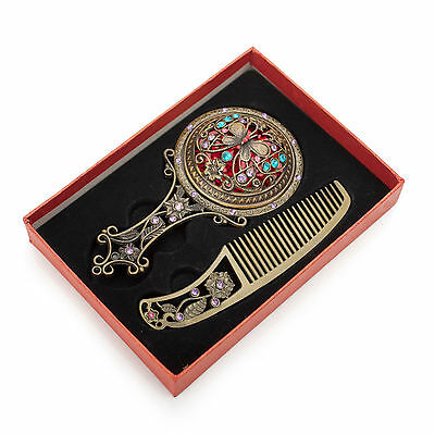 ALICE Womens Girls Fashion Bronze Antique Hand Mirror and Comb Set With Gift Box