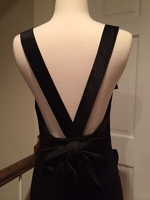 Stunning Gemma Kahng Black Cocktail Dress w Plunging Back & Bow Size 8/6