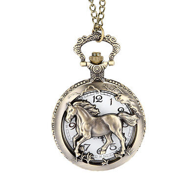 Antique Retro Horse Hollow/Carved Quartz Chain Necklace Fob Pocket Watch Gifts