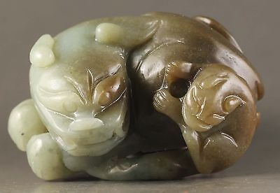 Chinese old natural hetian jade hand-carved dragon statue 2.5 inch