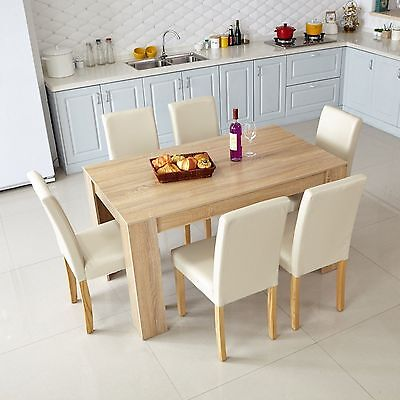 Original Wood Colour Dining Table Rectangular Kitchen Furniture MDF 2/4/6 Seats