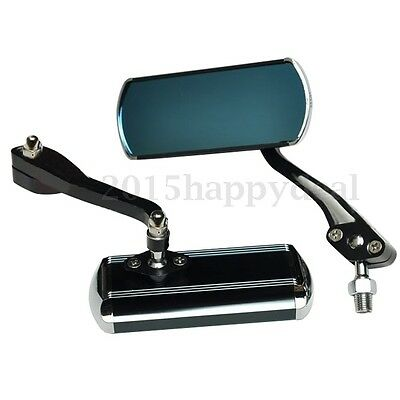 Black Rectangle Motorcycle Motorbike Rear View Side Mirrors Universal10Mm New Uk