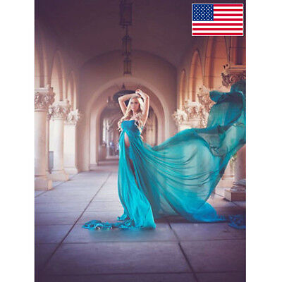 6 Color Maternity Maxi Wedding Party Dress Chiffon Gown Plus Size Photography